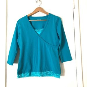 St. John's Bay Stretch Tunic Top w/Lace, Size Med